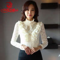 Autumn plus velvet thickening basic shirt autumn and winter turtleneck long-sleeve thermal elegant pearl lace shirt female