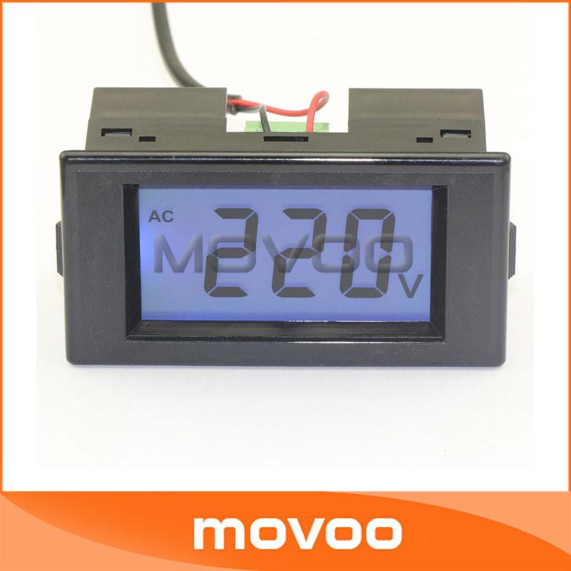 5 PCS/LOT AC 110V 220V Digital Volt Meter AC 80-500V Blue Backlight LCD Voltage Monitor Two Wires Digital Volt Gauge #100098(China (Mainland))