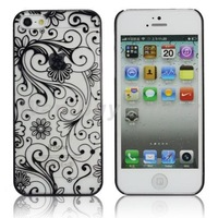 Elegant Flower Pattern Print Transparent Hard Case for iPhone 5S / 5   Free Shipping