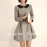 S-XL woolen on long-sleeve peter pan collar fashion houndstooth woolen winter dress free shipping