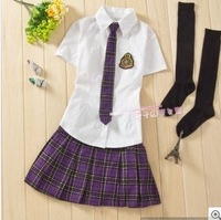 Girls hot class service set preppystyle school wear uniform student uniform short-sleeve purple