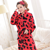Autumn and winter princess cow print long-sleeve flannel thickening female robe bathrobes