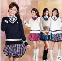 2013 student school uniform set sweater 100% cotton shirt puff skirt class service set