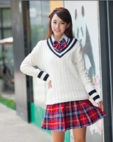 2013 hot-selling fashion sweater school wear uniform class service V-neck sweater school uniform set