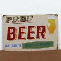 free beer paiting Tin Sign Bar pub home Wall Decor Retro Metal Art Poster F-66