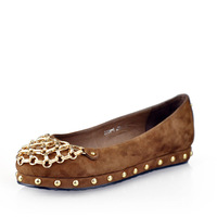 New arrival vv2013 genuine leather single shoes fashion metal toe cap low-top fashion rivet flat shoes women's shoes