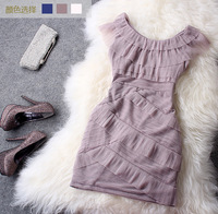 Free shipping Fashion spring and summer 2013 JORYA ruffle pleated slim nude color formal dress vest one-piece dress