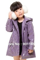 New arrival retail warm fashion kid's thickening hooded PU leather windcoat baby girl's light overcoat toddler's greatcoat wear