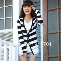 High Quality Free International 2013 Hitz striped stitching chiffon cardigan jacket dy-g523-6386