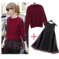 Top Quality Women Sweaters 2013 Pads Crotch Pullover Sweater Organza Babydoll Sweater Twinset HK post Free Ship  fashion apparel