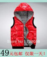 free shipping 2013 autumn and winter rib knitting sweep casual vest men's clothing with a hood