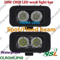 Free shipping 2pcs/lot 4.5'' IP68 12V24V Spot/Flood 20W CREE LED work light Car Truck SUV Offroad fog roof head Single Row light