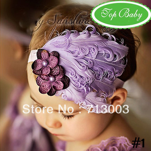 Free Shipping TOP BABY headband infant new designs headwear fashion feather Hair Accessories hair ornaments in stock(China (Mainland))