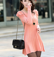 2013 women's o-neck twisted puff sleeve medium-long sweater female sweater dress  /Free shipping