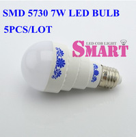 Super Brigt LED SMD 5730 Lamp Bulb 7W E27 LED Globe Bulb Energy Saving Lamp E27 Screw-mount Socket 5pcs/lot+free shipping