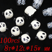 100pcs 8x12x15mm  Lovely panda head resin beads fashion Manicure decoration for anywhere you need