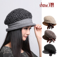 Free shipping Hat female 13 new arrival cap autumn and winter knitted ear thermal knitted hat bucket hats