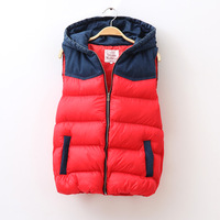 Free Shipping 2013 winter women's fashion all-match cowboy hat patchwork thickening cotton vest outerwear