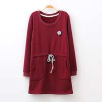 Free Shipping Drawstring waist slim fleece one-piece dress 2013 female fresh o-neck basic shirt