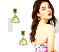2013 new fashion colored crystal glass triangle pendant earrings ,10pairs/lot  free shipping