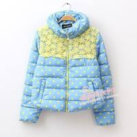 Free Shipping 2013 winter women's fresh polka dot lace patchwork stand collar wadded jacket cotton-padded jacket outerwear