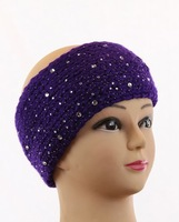 free shipping Rinestone   Knitted Winter  Ear Warmer Headband Crochet Headwrap