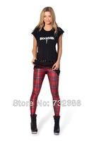2014 New brand black milk for women's Red vintage Plaid 3D print leggings spring autumn fitness galaxy pencil pants harajuku