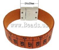 Free shipping!!!Velveteen Bracelet,Promotion, zinc alloy magnetic clasp, platinum color plated, orange, 24x20mm, 19mm
