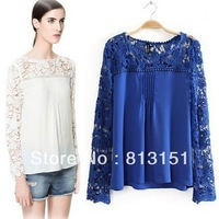 (Free Shipping ) 2014 Women's Sweet Lace Flower Patchwork Blue/Yellow Color  Casual  Blouse Ladies   shirt