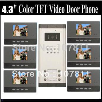 "2013 New 4.3""color video door phone/doorphone /intercom system, Black color 1 to 6(China (Mainland))"