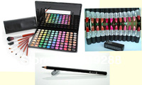 Fashion Hot Sale makeup sets combination professional eye shadow palette+cosmetic brushes+1pc lipstick pencil replace mac set