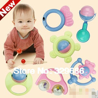 New 2014 6pcs/set  0-12 months learning & education toys of newborn teether baby rattles toys Hand Shake Bell Ring classic toys
