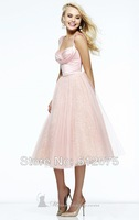 2014 New Arrives Evening Dresses Pink Tulle Spaghetti Strapless Sexy Short Prom Dresses Customer Made All sizes