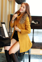 2013 women' s winter woolen thick outerwear female slim medium-long thickening woolen overcoat female free shipping