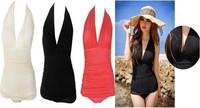 Vintage Sexy One Piece Swimsuit Deep V Halter Swimwear Swim Dress Bathing suits