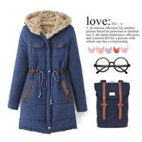 Korean version of the new autumn and winter women's long-sleeved hooded jacket frock coat thicker waist Ms. Down