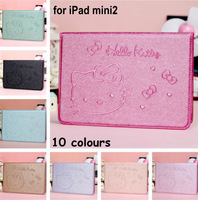Fashion Bling Silk Style Kitty PU Leather Stand Smart Case For iPad Mini2 With Card Slot
