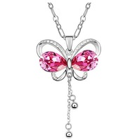 New Arrival Crystal Butterfly necklaces & pendants 2013 Women jewelry long necklace CN037 Free shipping