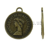 Free shipping!!!Zinc Alloy Pendants,2013 new famous fashion brand, Coin, antique bronze color plated, nickel