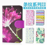 Holster leather flip Bling diamond Lovely lip flower grass natural protective cover case for ZTE N760