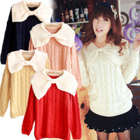 Spring and autumn sweater vintage big bow turn-down collar twist sweater outerwear women's