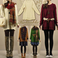 2013 women's vintage laciness o-neck twisted loose medium-long pullover sweater