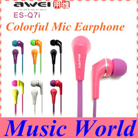 New awei ES-Q7i earphone with mic Phone/IPOD/Android Phones Mp3/MP4 Players Dropship FREE SHIPPING