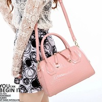 new 2013 bags bucket handbag crocodile pattern fashion vintage japanned leather one shoulder cross-body bags women