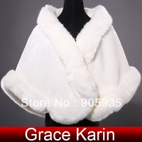 Free Shipping 2014 Grace Karin Ivory Faux Fur Wedding Accessories Jacket Bridal Bride Wrap Shawl Cape Tippet CL4943