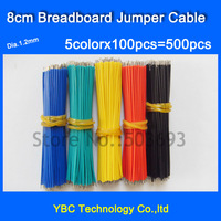 Free Shipping 5color X 100pcs=500pcs 8cm Breadboard Jumper Cable Wire Tin DIY Red/Black/White/Green/Blue