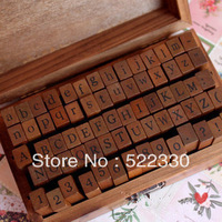 Freeshipping! 70pcs/set/ Number and Letter Wood stamp Set/Wooden Box/Multi-purpose stamp/DIY funny work/regular script 5Sets/Lot