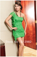 Multi-color Women's fashion evening party dresses sexy lace ruffles nightclub one-shoulder gentlewomen dress