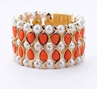 Min order is $15(mix order) Fashion cool color magnet imitation pearl bracelet