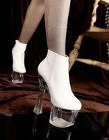 "Transparent Super High Heel 6.8"" Platform #932 Patent Sexy Ankle Boots,US 5-9.5,Womens/Ladies Shoes"